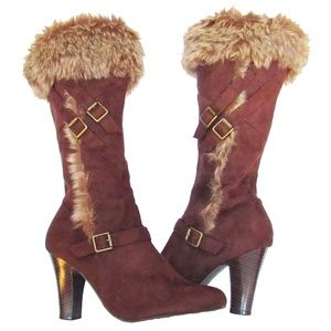Qupid Faux Suede Tall Heeled Side Zip Boots
